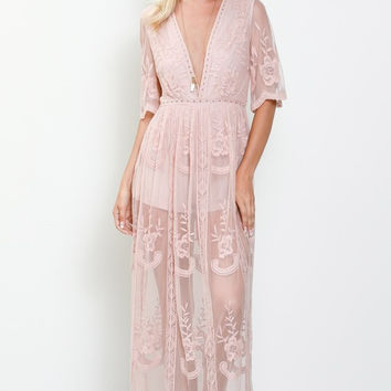 Plunging Lace Maxi Dress - Blush