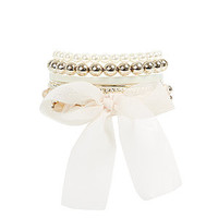 Cream Pearl Ribbon Ball Bangle Set