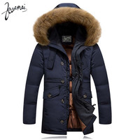 Men's Kuamai Winter Coat With Fur Collar Casual Hooded Thick Warm Duck Down Anti-Snow Jacket