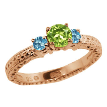 0.90 Ct Green Peridot Swiss Blue Topaz 18K Rose Gold Plated Silver 3-Stone Ring