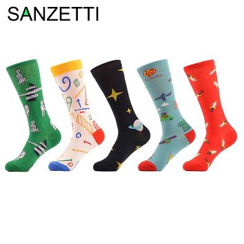 SANZETTI 5 Pairs/Lot Colorful Funny Pattern Plane Sword Star Space Women Socks Combed Cotton Socks for female Casual Cute Style