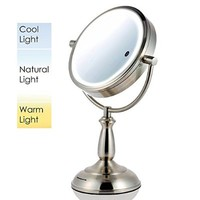 Ovente MPT85BR Multi Touch Tabletop Makeup Mirror with 3 Tone LED Light Option, 8.5 inch, 1x/10x Magnification, Brushed