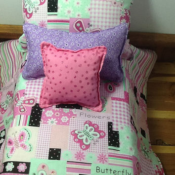 "Pink Doll Bedding  for 18"" dolls, comforter, three pillows, Butterfly print with flowers, Reverses to pink multi stripe, cotton fabric"
