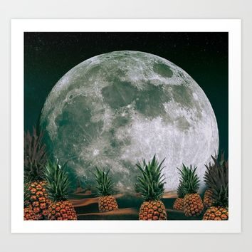 Space Pineapples  Art Print by Ashley Hillman