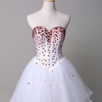 Strapless Prom Dress Rhinestone Beading A-Line Tulle Mini Dress