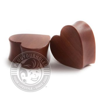 Cherry Wood Heart Shaped Wood Plugs