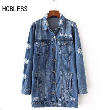 2017  Denim Jackets Women Hole Boyfriend Style Long Sleeve Vintage Jean jacket Denim jacket  Loose Spring Autumn Denim Coat Jean