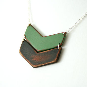 Hand-Painted Wooden Chevron Necklace in Jungle Green and Black - MADE TO ORDER