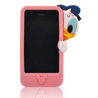 My8 Pink Lovely 3D Cartoon Hide And Seek Duck Style Soft Silicone Rubber Case Protector Cover for Apple Iphone 4 4G 4S