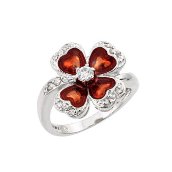 Sterling Silver Red Cubic Zirconia Heart Clover Fashion Right Hand Ring: Size: 5