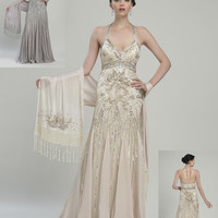 Sue Wong N2133 Platinum Evening Gown