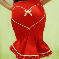 "Pin-Up style ""Deadly Valentine"" fishtail skirt"