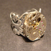Steampunk Watch Movement Ring with Exposed Gears (565)