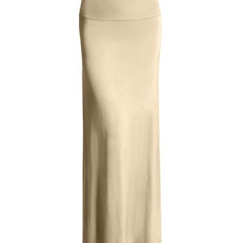 LE3NO Womens Fold Over Floor Length Maxi Skirt