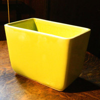 Vintage Mid Century McCoy Pottery Rectangular Planter - Bright Yellow Green Color