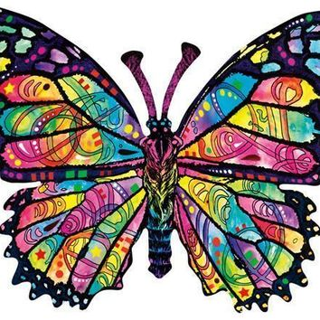 Stained Glass Butterfly 1000pc Shaped Jigsaw Puzzle
