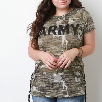 Plus Size Camouflage Print Army Graphic Tee | UrbanOG