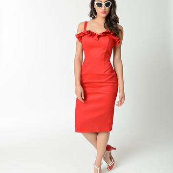 Collectif Red Sweetheart Ruffle Mandy Wiggle Dress