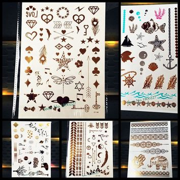 1PC Gold Metallic Temporary Tattoo Stickers Small Bauble PCT-148G Key Arrows Poker Fake Flash Tattoo Paste Women Body Art Arm