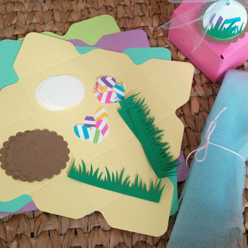 DIY Easter Box Favors - Set of 5 - Do It Yourself Kits - Papercraft Kits - Crafts for Kids - Easter Basket - Candy Box
