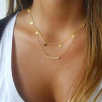 Disc and Bar Layer Necklace in Gold