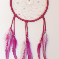 Pink Native American Inspired Dreamcatcher with Frog Charm, Pink dreamcatcher, home decor, wall hanging, dormroom decor, childs room