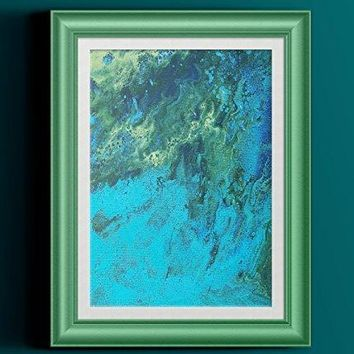 """Green Yellow Blue Abstract Fluid Painting Fine Art Print // """"Swell"""""""