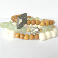Earthy Boho Bracelet Set Featuring Metallic Titanium Quartz, Sandalwood, Pyrite, Green Jade, and Acai Seed Bead Bracelet, Raw Gemstones