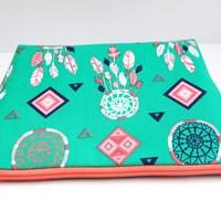 Green zipper pouch, emerald dream catchers, feathers makeup bag, bright green bag, travel toiletry tote, coral navy and green, cosmetic bag