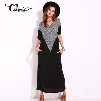 Summer Maxi Dress Women Elegant Striped Casual Robe Short Sleeve Plus Size Floor Long Dresses Kaftan High Quality Vestido Largo
