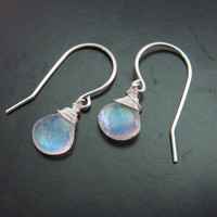 Sterling Silver Blue Flashy Rainbow Moonstone Earrings, Dainty Rainbow Moonstone Earrings, June Birthstone Earrings, Valentine's Day Gift