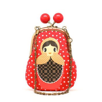 Red starry candy Russian doll clutch pouch by misala on Etsy