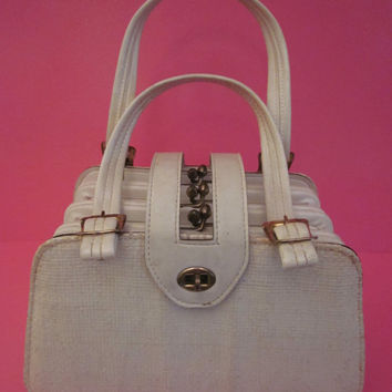 Retro Ladies Purse by Verdi with Basket-Weave-Type Fabric White/Off-White Leather with Brass Kisslock Closures Made in USA