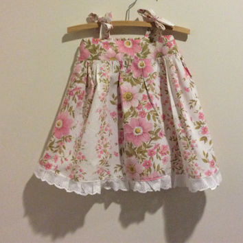 Upcycled size 1 sundress, pink and white tie top dress, toddler girls clothing, eco friendly handmade clothes, shabby chic lacy dress