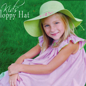 Kids Monogramed Personalized Floppy Hat Perfect by BeachyMommas