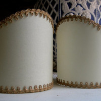 Pair of Wall Sconce Clip-On Shield Shades Ivory Parchment Mini Lampshade - Handmade in Italy