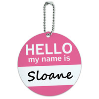 Sloane Hello My Name Is Round ID Card Luggage Tag