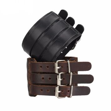 Quixotic Genuine Leather Wide Wristband Punk Buckle Strap Bracelet for Men's by Ritzy