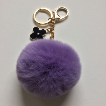 Purple pom pom keychain REX Rabbit fur pom pom ball with flower bag charm
