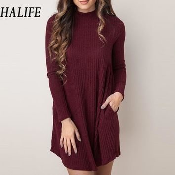 HALIFE Autumn 2017 Women Sweaters And Pullovers Long Sleeve Long Knitted Sweater Dress Casual Pullover Donna jumper Pull Femme