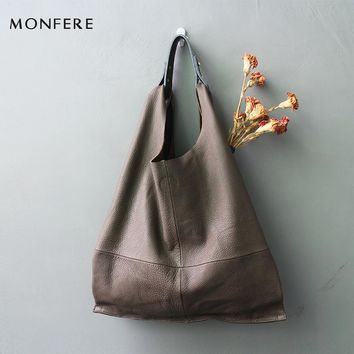 MONFERE fashion genuine leather women bag casual HOBO shoulder bags