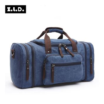Original Z.L.D Canvas Travel Bag Men Hand Luggage Travel Duffle Bags Weekend Bag Luggage Multifunctional Travel Bags Overnight