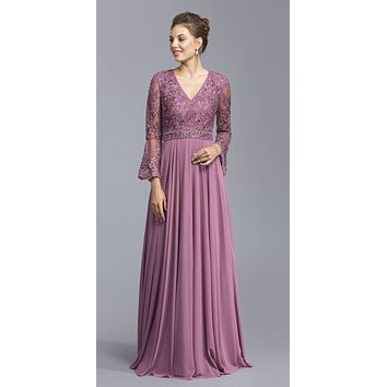Embroidered A-line Long Formal Dress Dusty Pink with Bell Sleeves