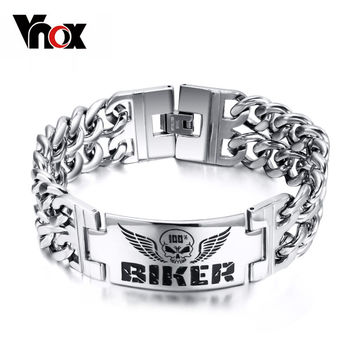 Biker Bracelets Men's Jewelry 316l Stainless Steel Skull Double Chain Charm Gift