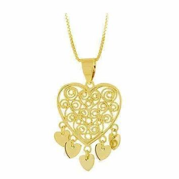 18K Gold over Sterling Silver Filigree Chandelier Heart Pendant