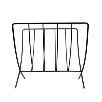 Vintage Black Metal Magazine Stand Rack Fold Up Retro Ranch Decor Collapsible