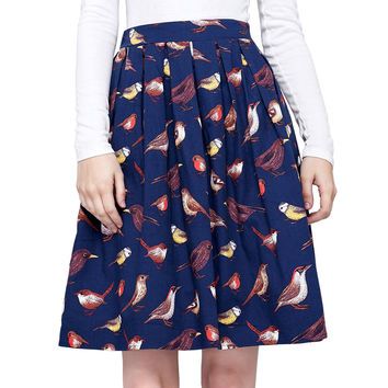 High Waist Cotton Bird Floral Printed Vintage 50s 60s Rocakbilly Skirt Princess Women Vintage Retro Pleated Cotton Skirts 2017