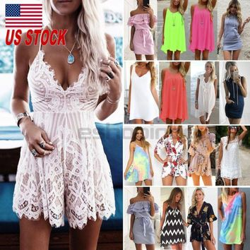 US Women Boho Mini Dress Rompers Party Evening Club Hippie Summer Beach Sundress