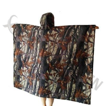 ONETOW 3in1 Outdoor Military Travel Camouflage Poncho Backpack Rain Cover wear Waterproof Mat Awning Hunting Camping Hike mats