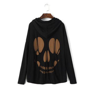 Skull Hollow Out Strong Character Hats Casual Sports Ladies Tops Women's Fashion Jacket [8013925958]